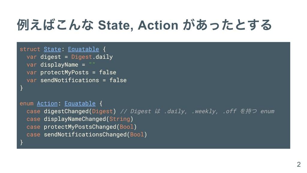 例えばこんな State, Action があったとする struct State: Equa...
