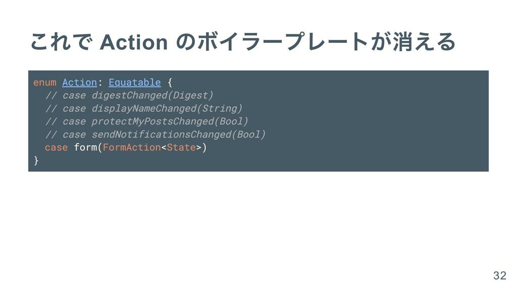 これで Action のボイラープレートが消える enum Action: Equatable...