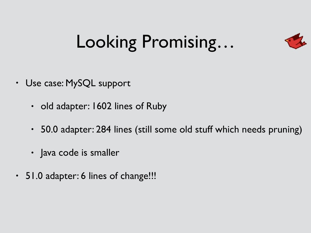 Looking Promising… • Use case: MySQL support • ...