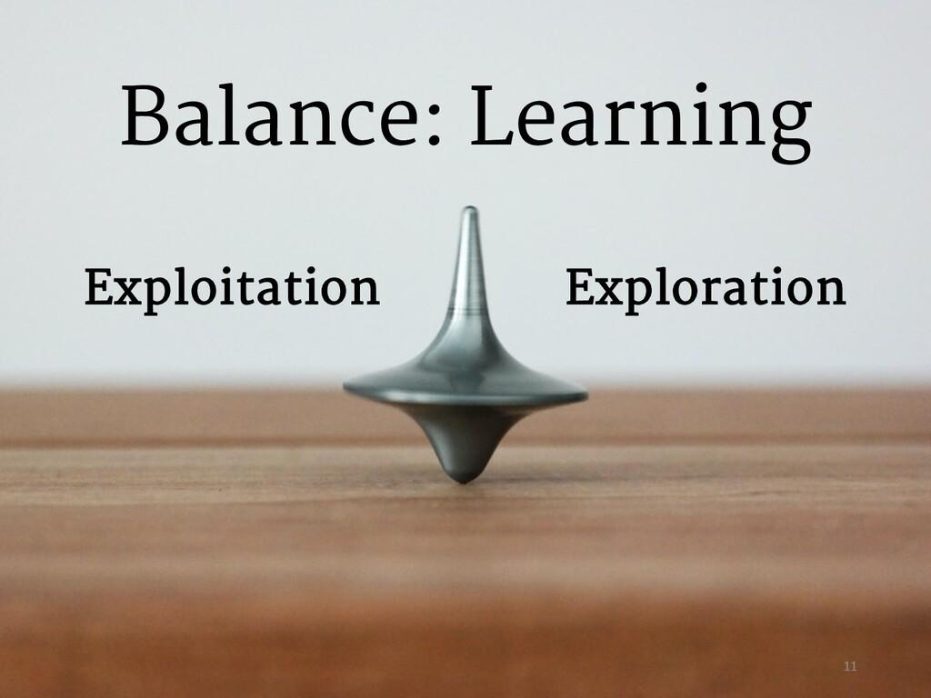 Exploration Exploitation Balance: Learning 11