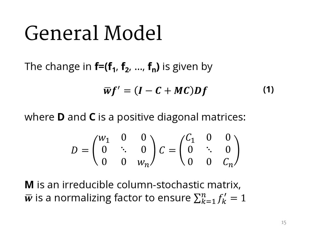 General Model The change in f=(f1 , f2 , …, fn ...