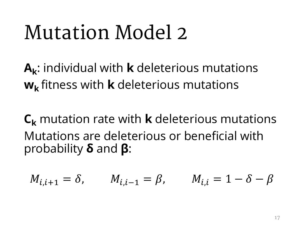 Mutation Model 2 Ak : individual with k deleter...