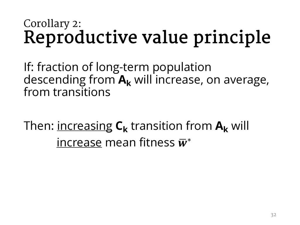 Corollary 2: Reproductive value principle If: f...
