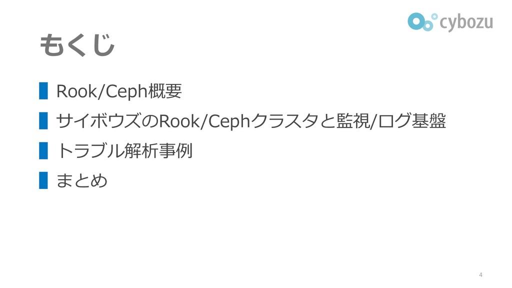 もくじ ▌Rook/Ceph概要 ▌サイボウズのRook/Cephクラスタと監視/ログ基盤 ▌...