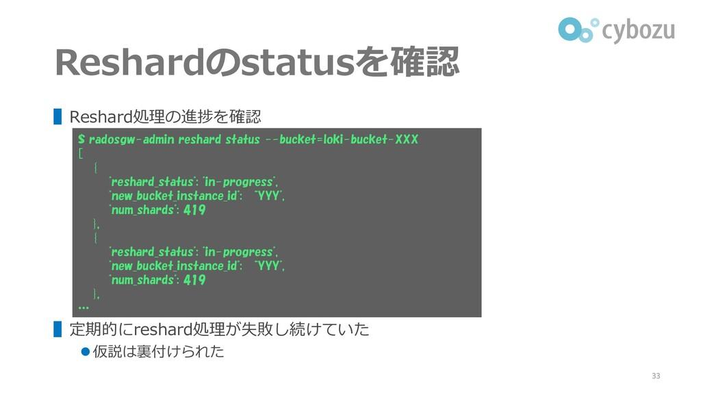 Reshardのstatusを確認 ▌Reshard処理の進捗を確認 ▌定期的にreshard...