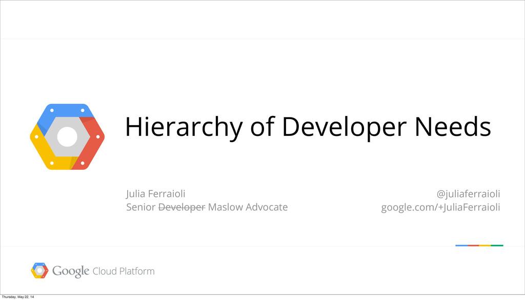 Hierarchy of Developer Needs Julia Ferraioli Se...