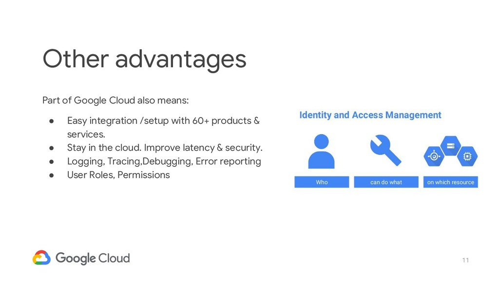 11 Part of Google Cloud also means: ● Easy inte...