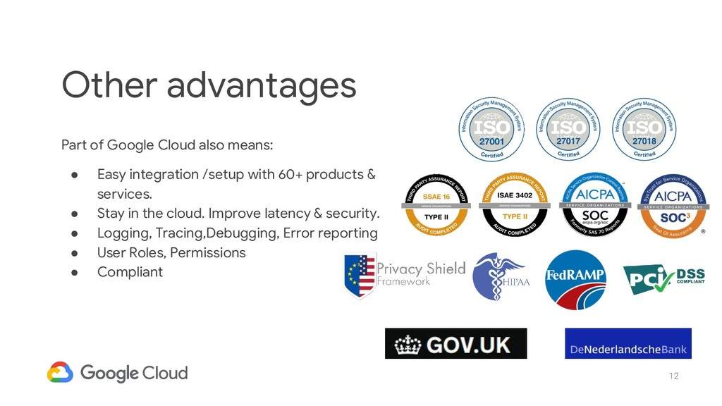 12 Part of Google Cloud also means: ● Easy inte...