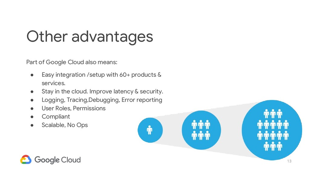 13 Part of Google Cloud also means: ● Easy inte...