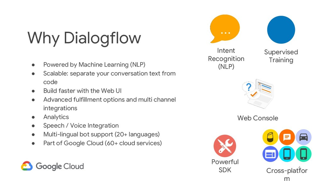 4 Why Dialogflow ● Powered by Machine Learning ...
