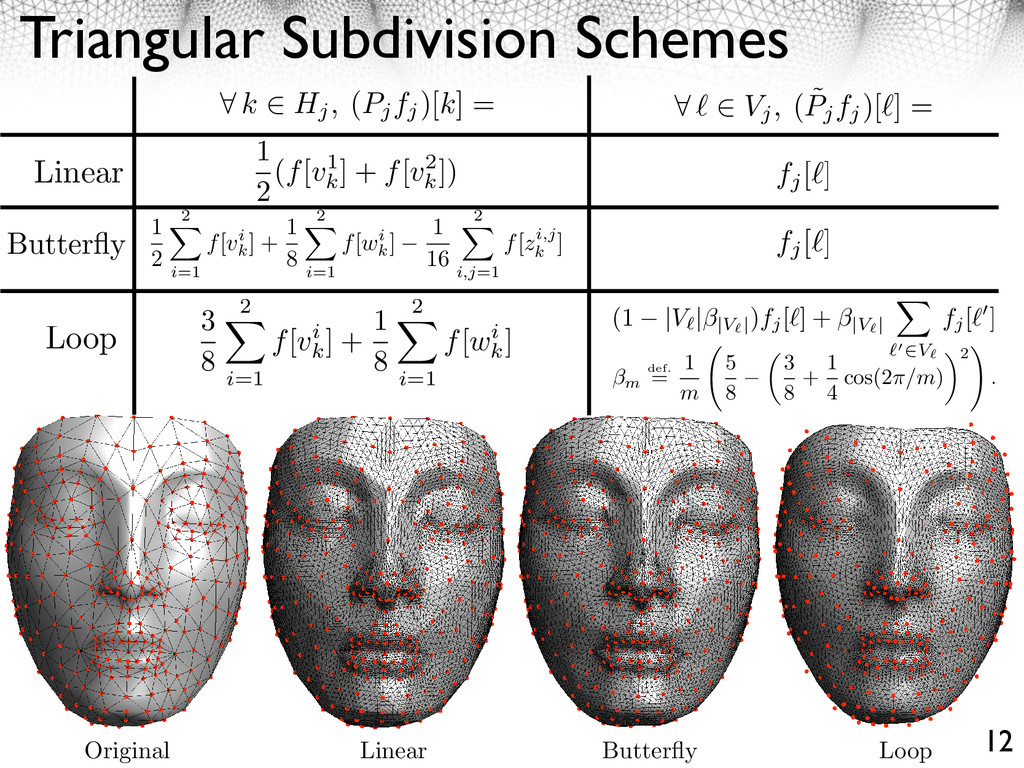 Triangular Subdivision Schemes 12 1 2 (f[v1 k ]...