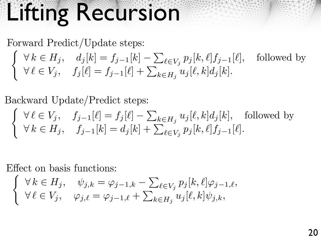Lifting Recursion 20 Forward Predict/Update ste...
