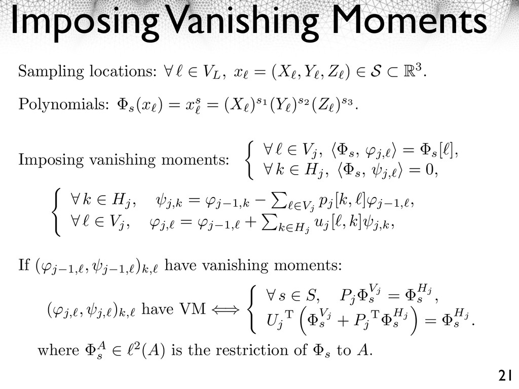 Imposing Vanishing Moments 21 ⇤ k ⇥ Hj, j,k = ⇥...