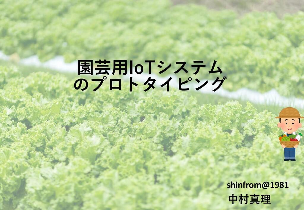 園芸用IoTシステム shinfrom@1981 中村真理 のプロトタイピング