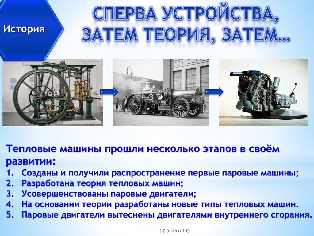 (всего 19) 17 История Тепловые машины прошли не...