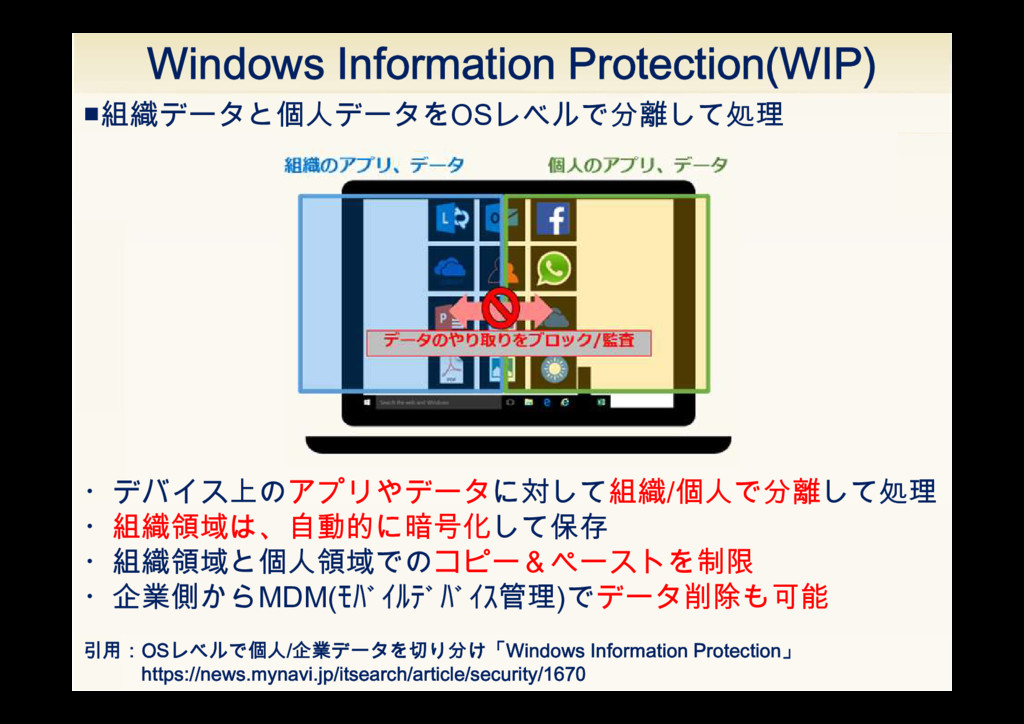 Windows Information Protection(WIP) 引用:OSレベルで個人...