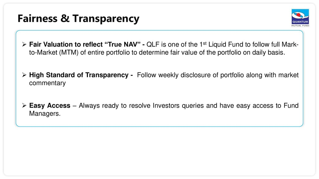 Fairness & Transparency  Fair Valuation to ref...