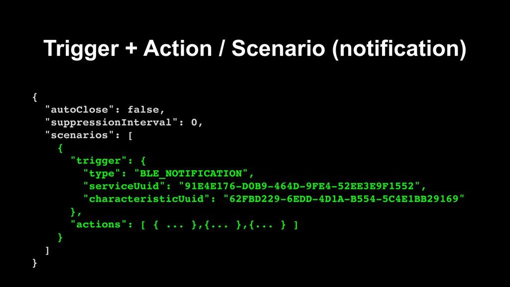 """Trigger + Action / Scenario (notification) { """"a..."""