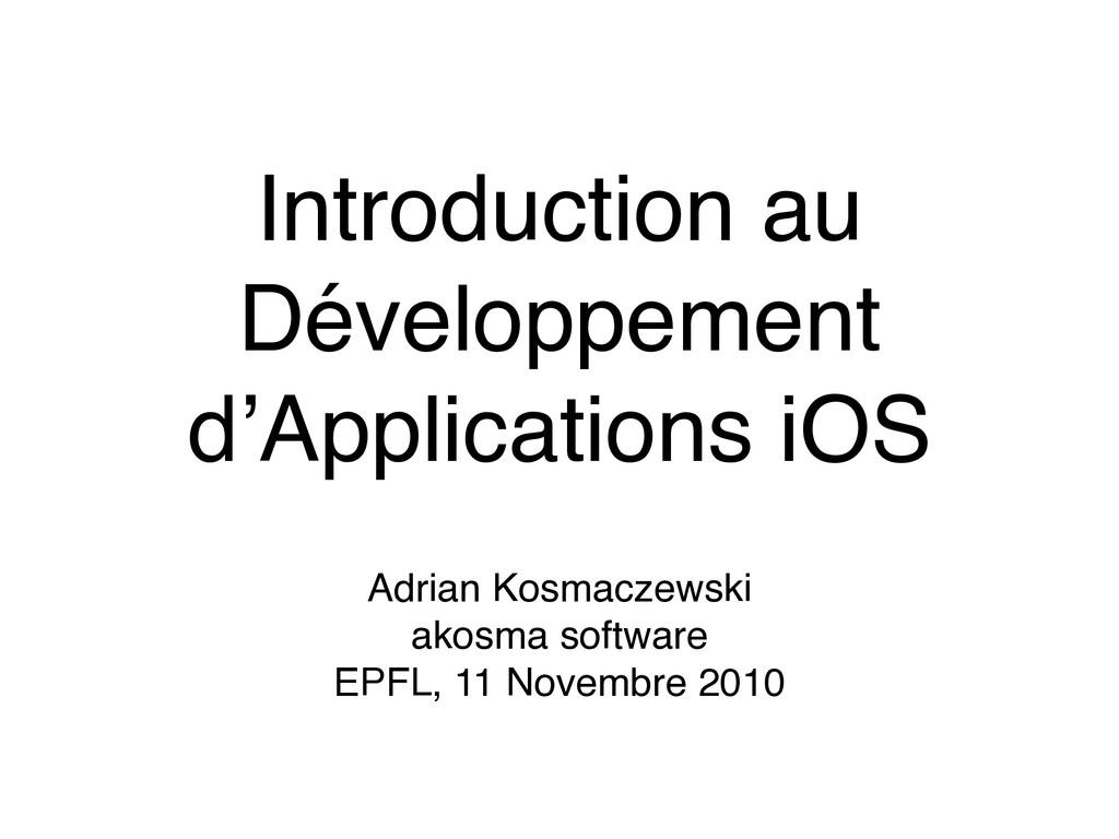 Introduction au Développement d'Applications iO...