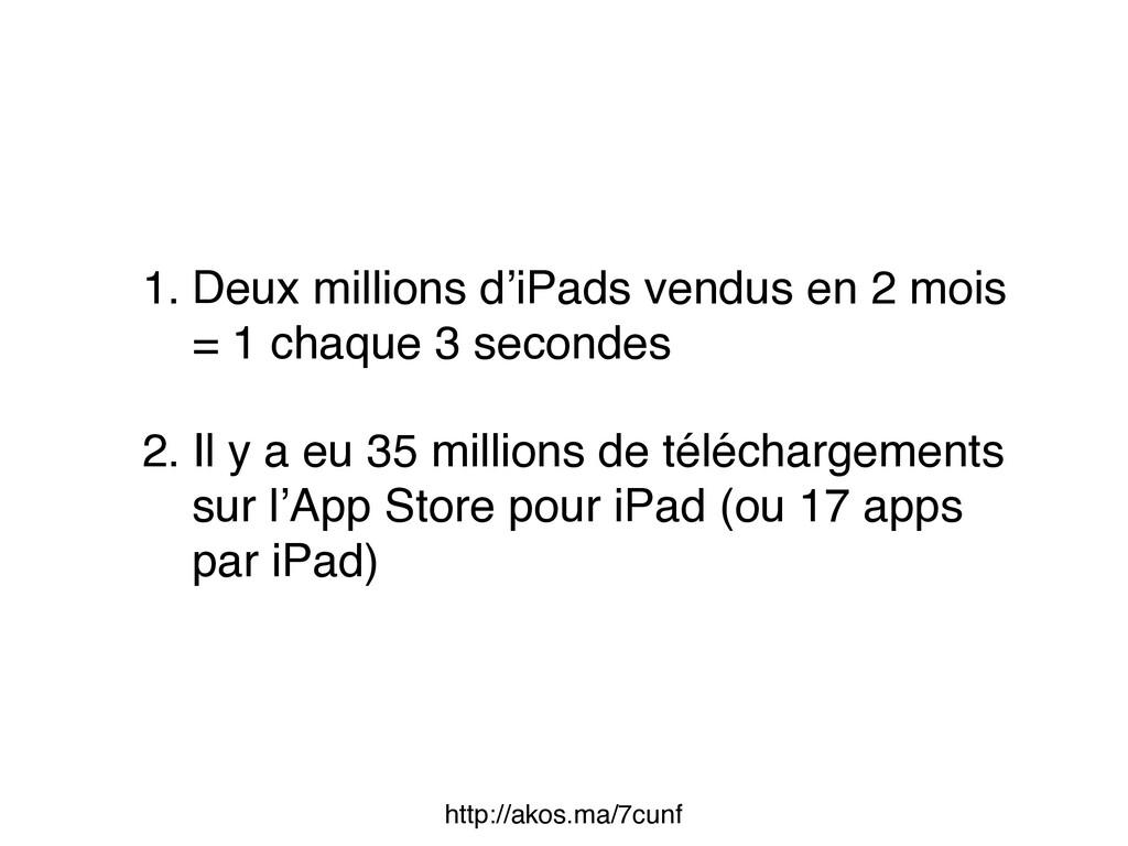 1. Deux millions d'iPads vendus en 2 mois = 1 ...