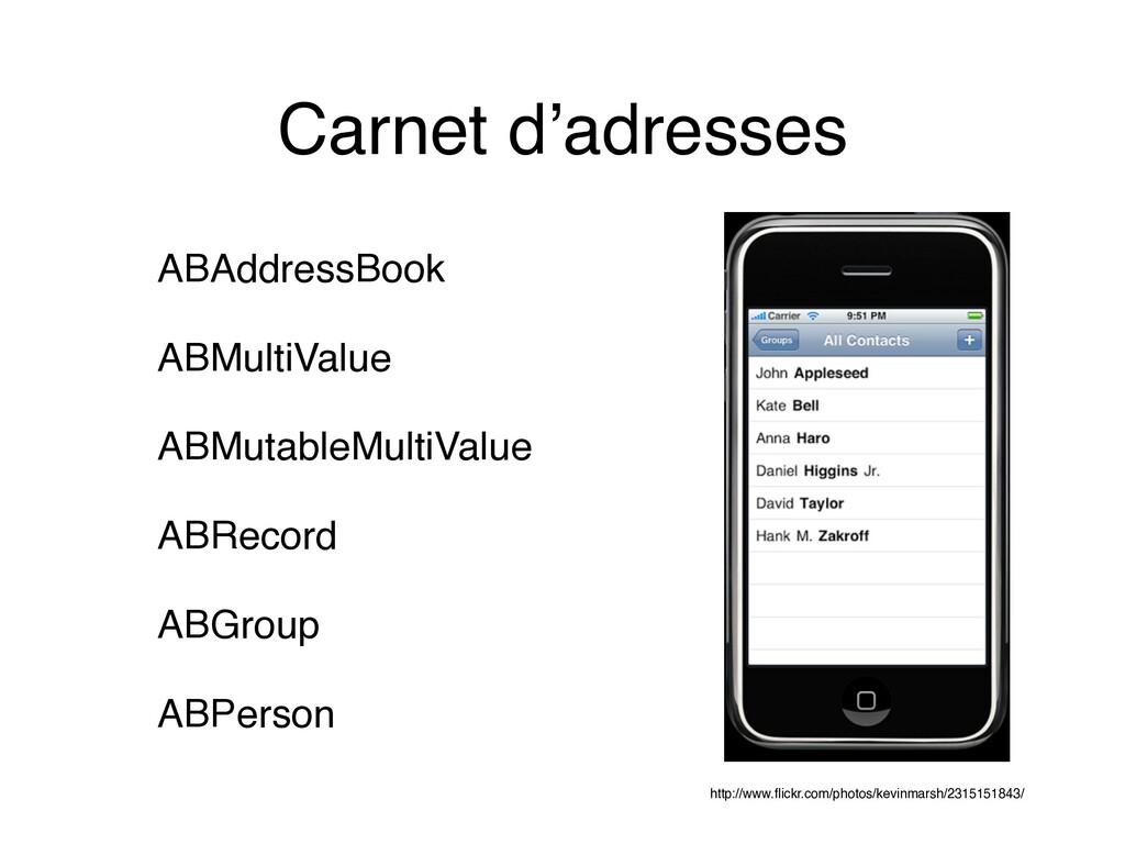 Carnet d'adresses ABAddressBook ABMultiValue AB...