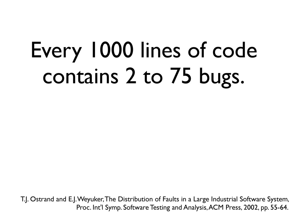 Every 1000 lines of code contains 2 to 75 bugs....