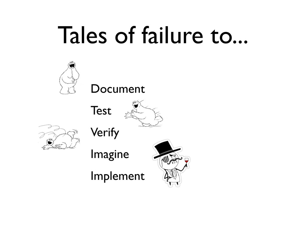 Tales of failure to... Document Test Verify Ima...