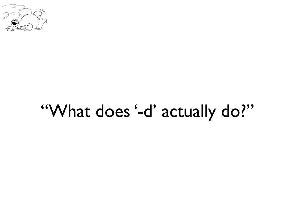 """What does '-d' actually do?"""