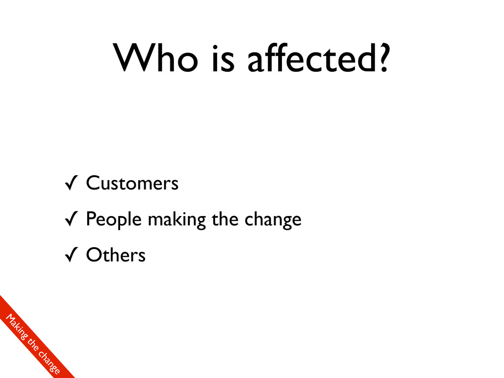 Who is affected? ✓ Customers ✓ People making th...