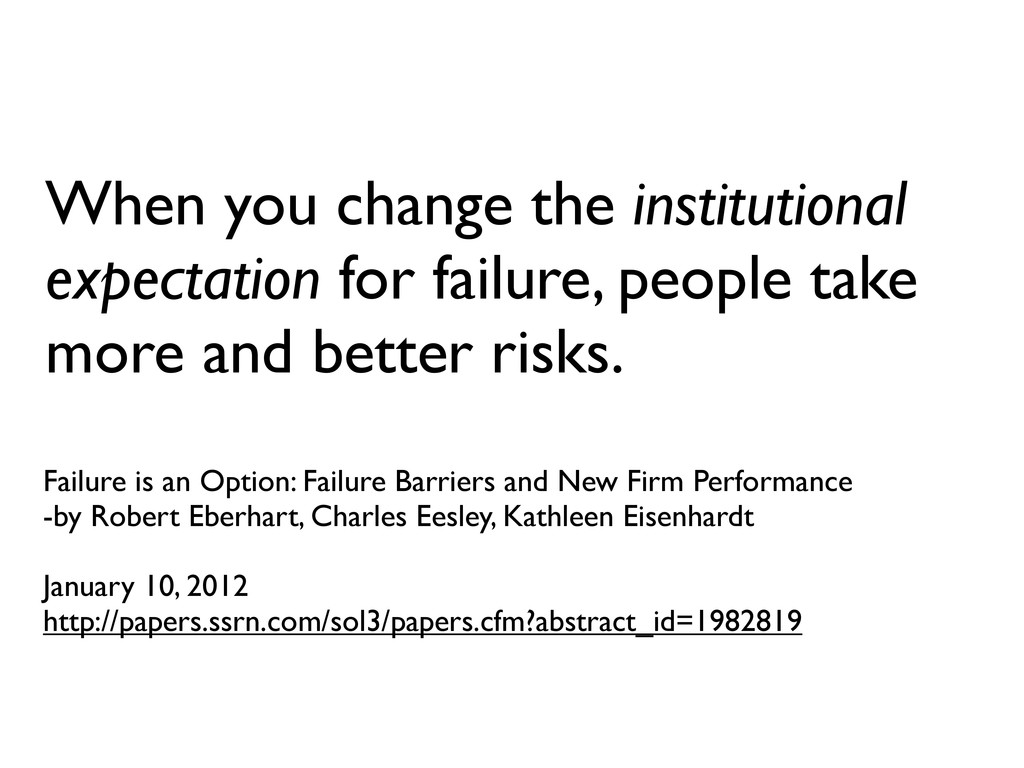 Failure is an Option: Failure Barriers and New ...