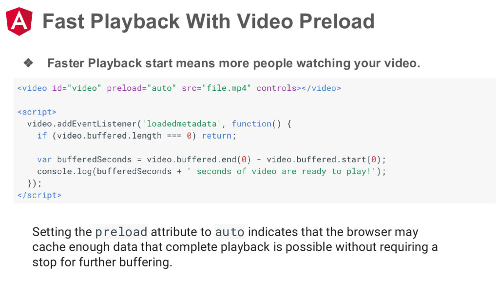 Fast Playback With Video Preload ❖ Faster Playb...