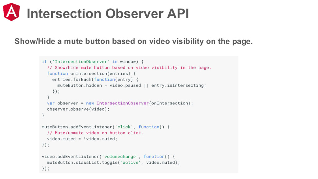 Intersection Observer API Show/Hide a mute butt...