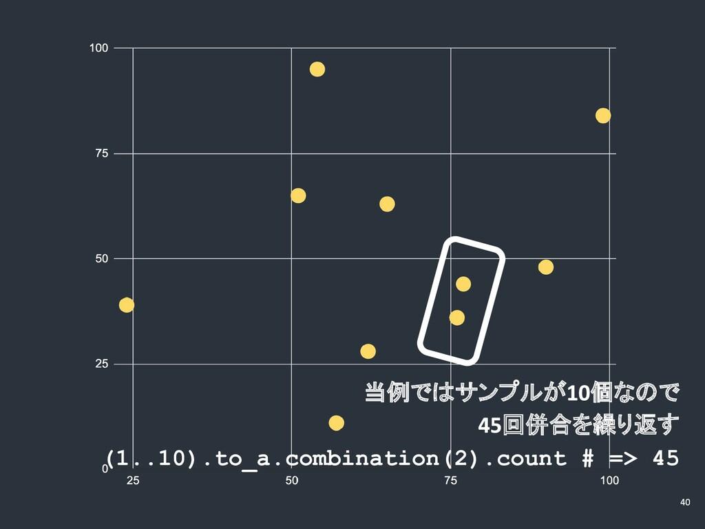 当例ではサンプルが 個なので 回併合を繰り返す (1..10).to_a.combinatio...