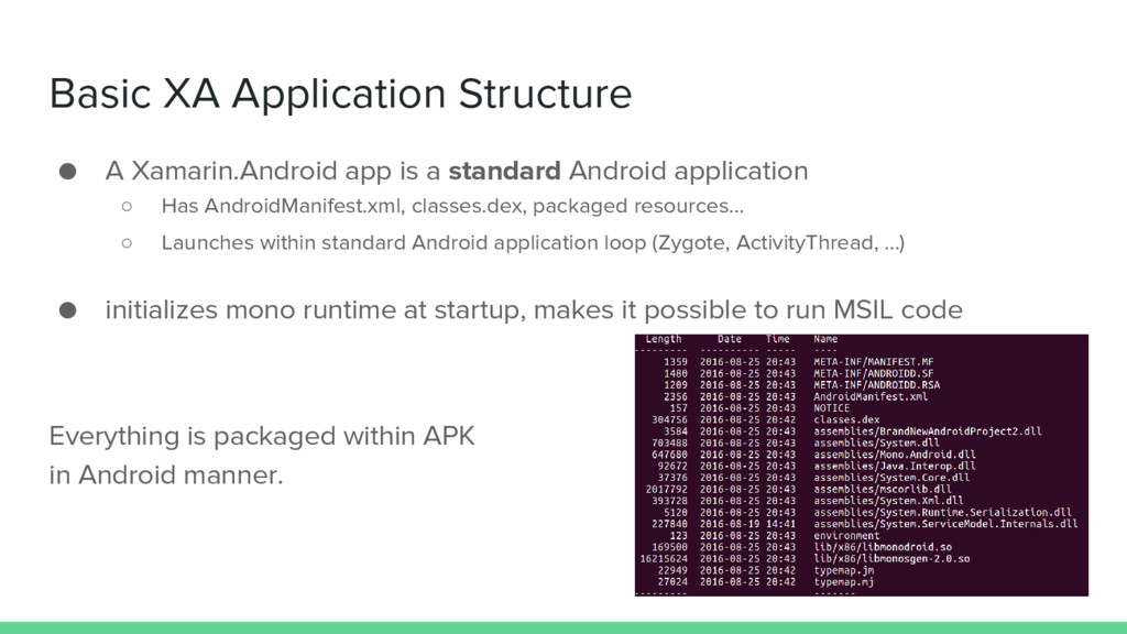 Basic XA Application Structure ● A Xamarin.Andr...