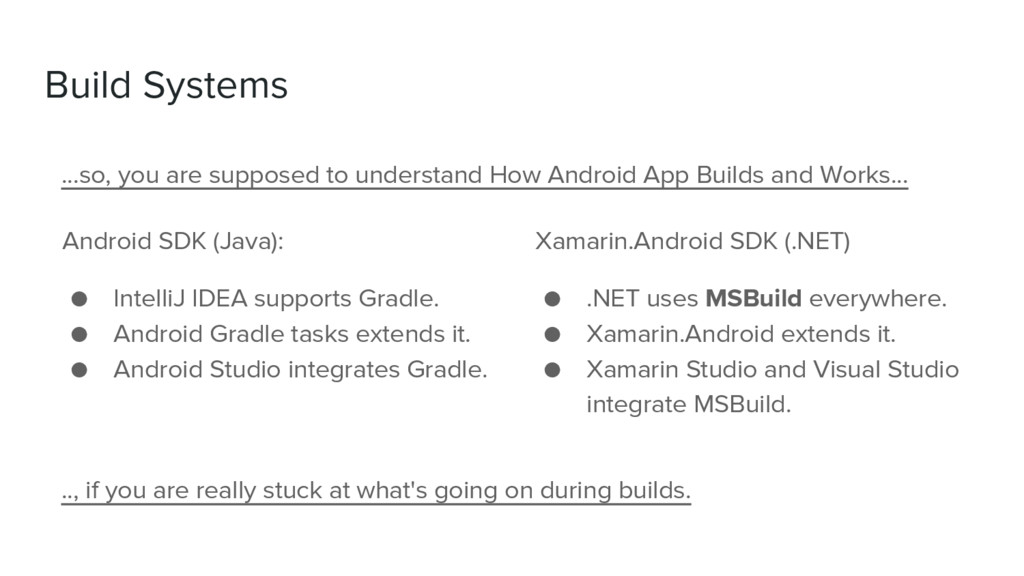 Build Systems Android SDK (Java): ● IntelliJ ID...