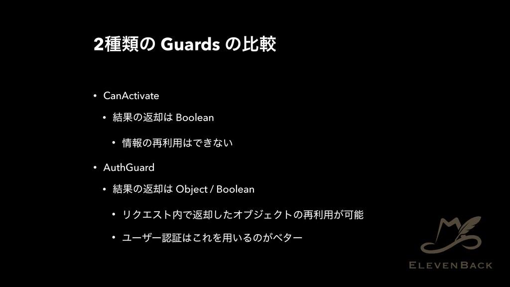 2छྨͷ Guards ͷൺֱ • CanActivate • ݁Ռͷฦ٫ Boolean ...