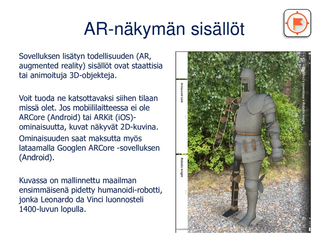 AR-näkymän sisällöt Sovelluksen lisätyn todelli...