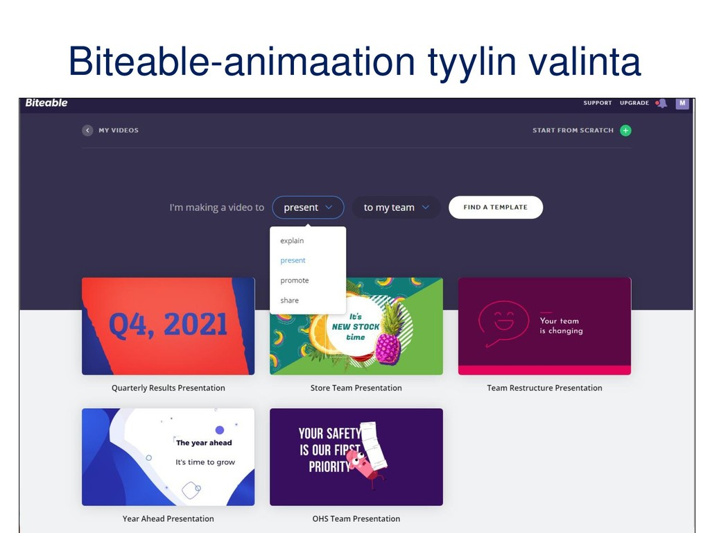 Biteable-animaation tyylin valinta