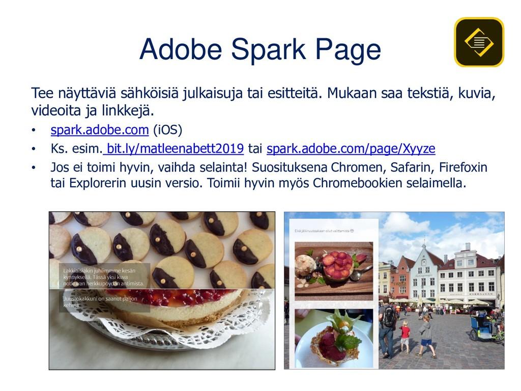 Adobe Spark Page Tee näyttäviä sähköisiä julkai...