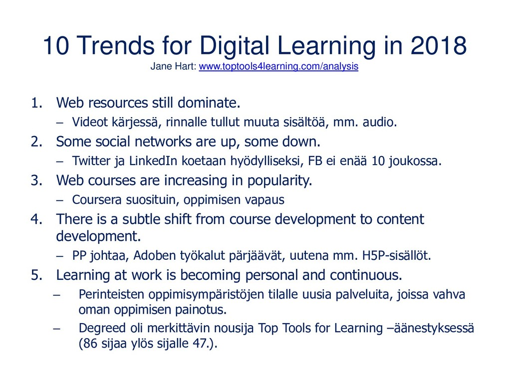 10 Trends for Digital Learning in 2018 Jane Har...
