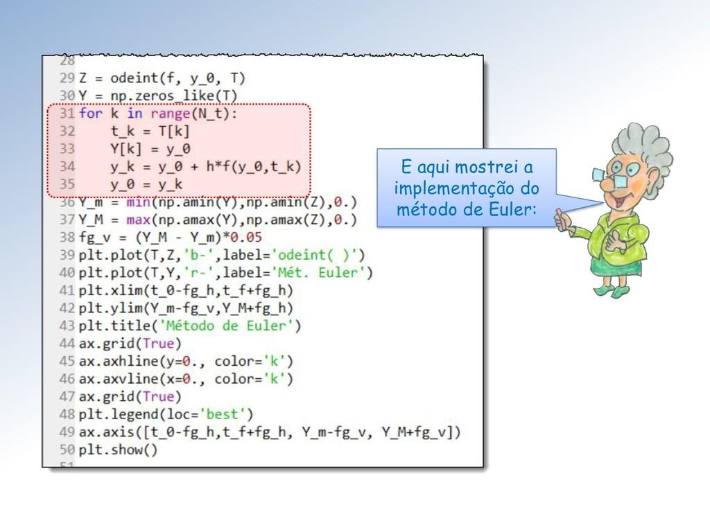 E aqui mostrei a implementação do método de Eul...