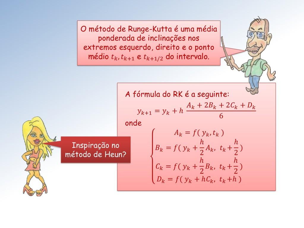 A fórmula do RK é a seguinte: +1 =  + ℎ  + 2 + ...
