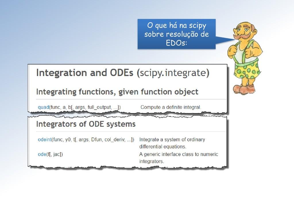 O que há na scipy sobre resolução de EDOs: