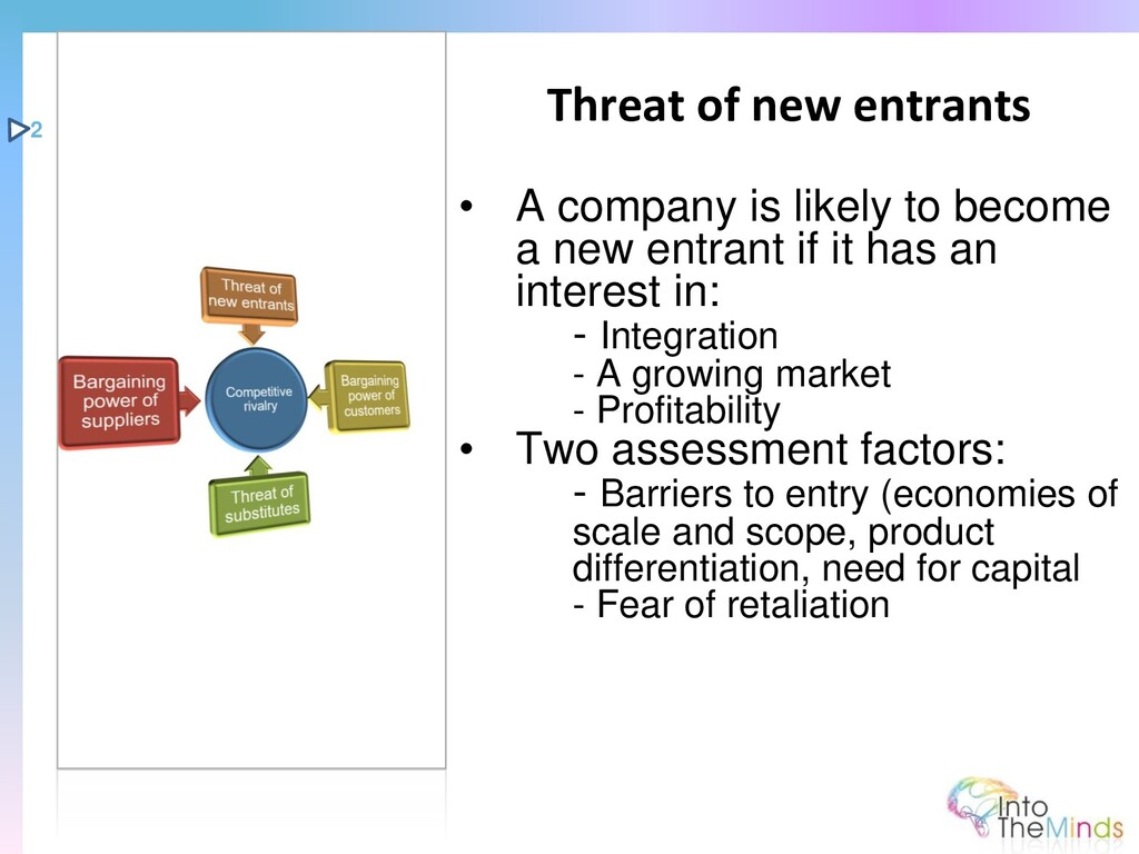 • A company is likely to become a new entrant i...