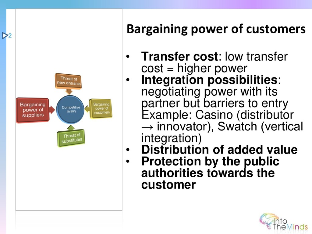 • Transfer cost: low transfer cost = higher pow...