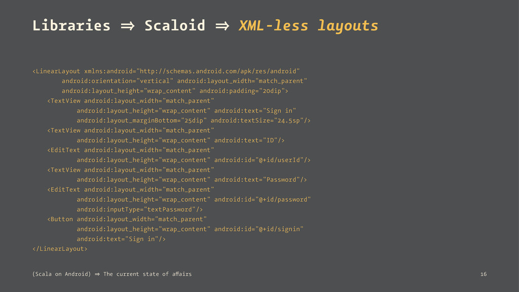 Libraries 㱺 Scaloid 㱺 XML-less layouts <LinearL...