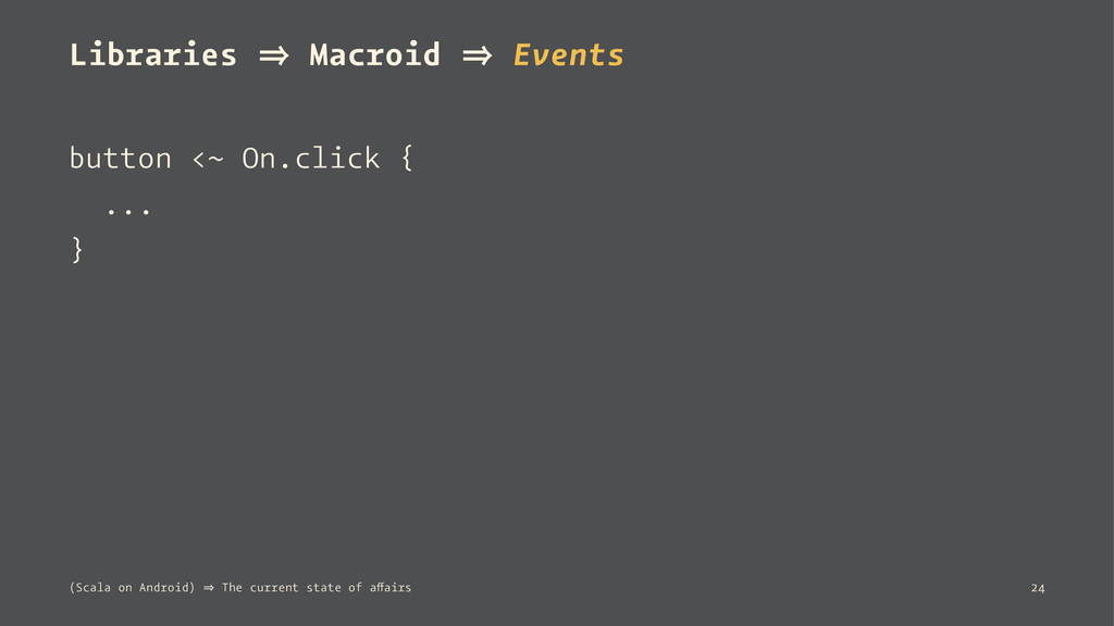 Libraries 㱺 Macroid 㱺 Events button <~ On.click...