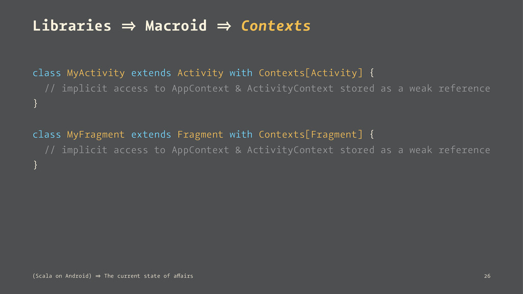 Libraries 㱺 Macroid 㱺 Contexts class MyActivity...