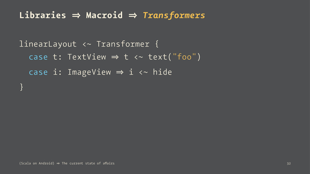 Libraries 㱺 Macroid 㱺 Transformers linearLayout...