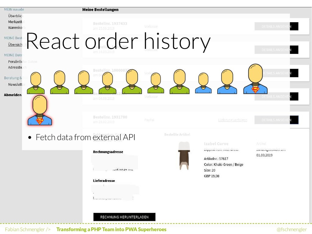 React order history Fetch data from external AP...